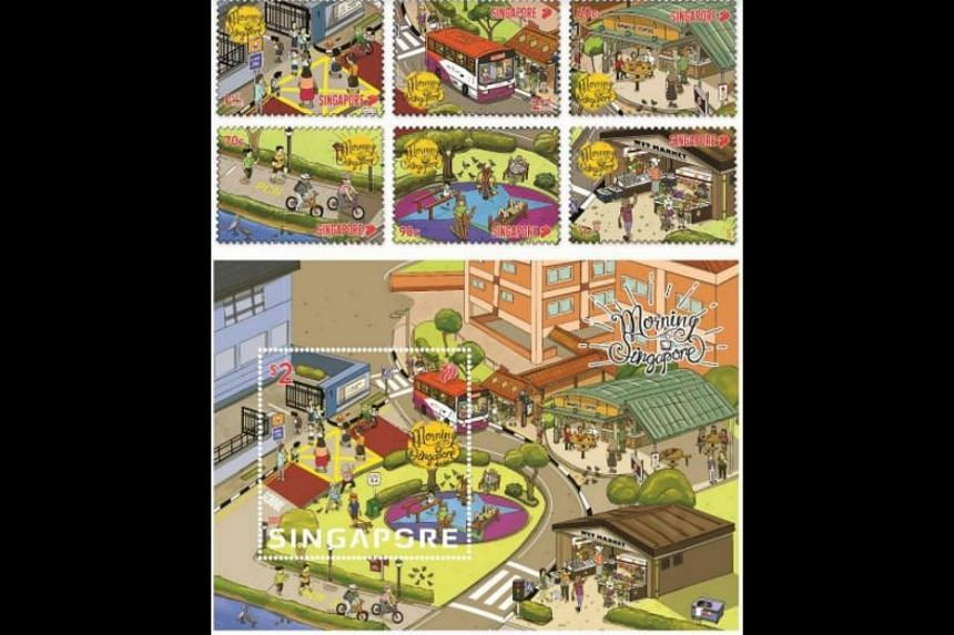 The Morning in Singapore stamp series depicts Singapore life through colourful illustrations.
