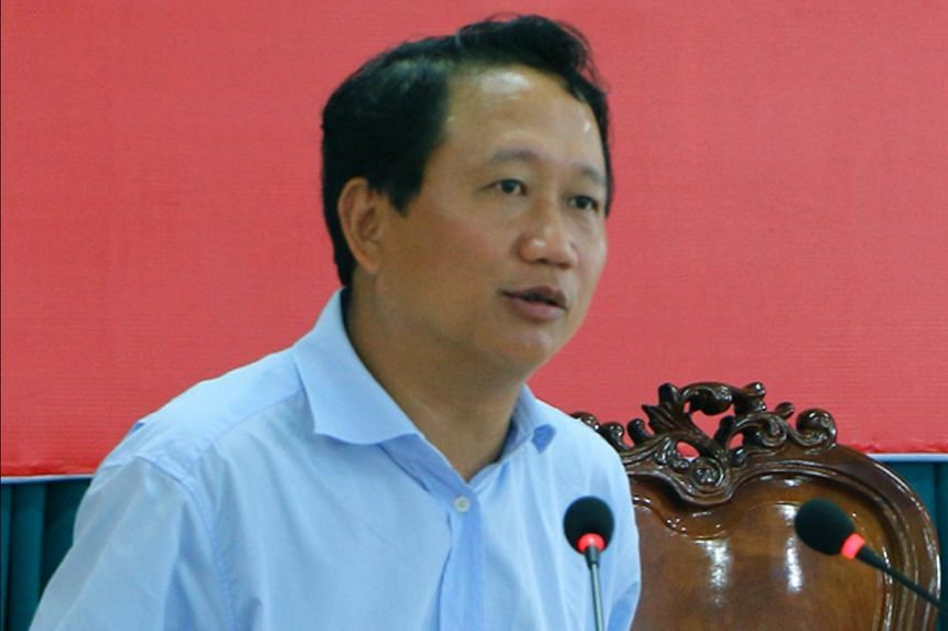 Former Vietnamese oil executive Trinh Xuan Thanh speaking at a meeting at an undisclosed location in Vietnam.