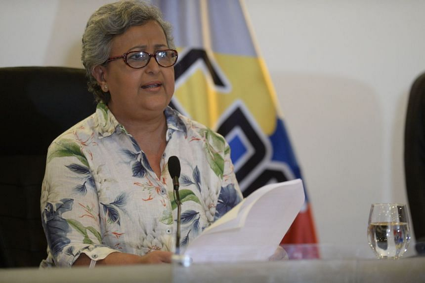 The head of the National Electoral Council, Tibisay Lucena, at a press conference in Caracas, Aug 2, 2017.