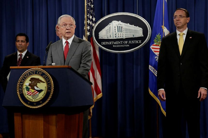 Jeff Sessions speaks at a briefing on leaks of classified material threatening national security.