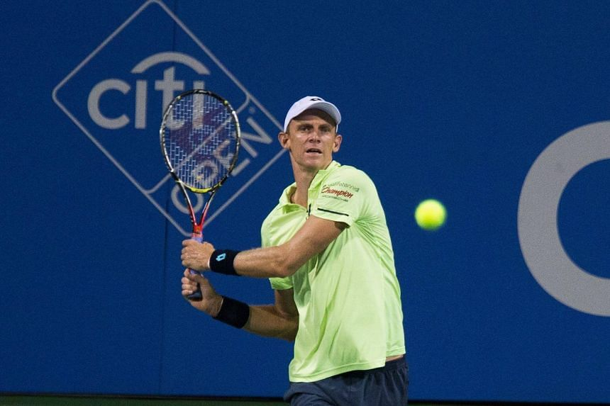 Kevin Anderson competes with Dominic Thiem at William H.G. FitzGerald Tennis Center in Washington, DC, on Aug 3, 2017.