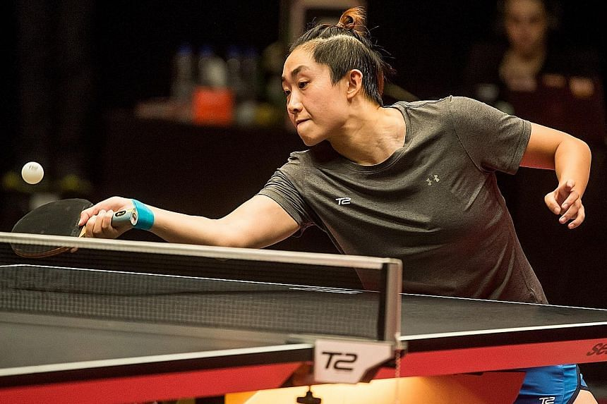 Singapore's Feng Tianwei returning in her T2Apac match against Thai Suthasini Sawettabut. The world No. 6 may have to overcome the same opponent in order to clinch SEA Games women's singles gold this month.