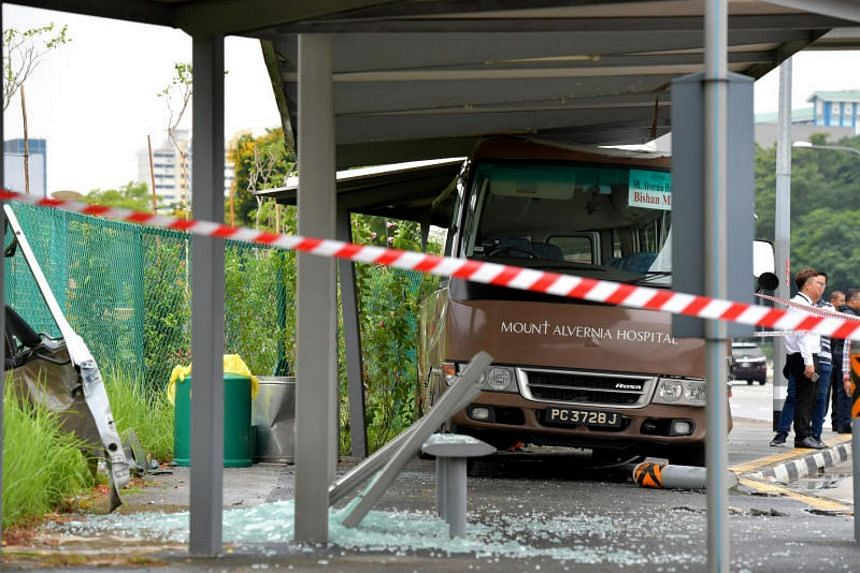 The shuttle bus had crashed into a bus stop along Braddell Road.