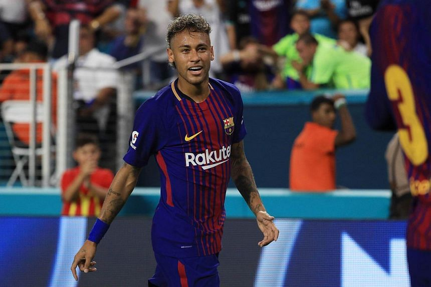 Neymar reacts in the second half of the game against Real Madrid during their International Champions Cup 2017 match at Hard Rock Stadium in Miami on July 29, 2017.