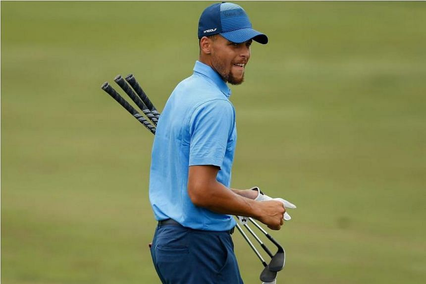 Stephen Curry walks to the ninth green during round one of the Ellie Mae Classic at TCP Stonebrae on Aug 3, 2017 in Hayward, California.