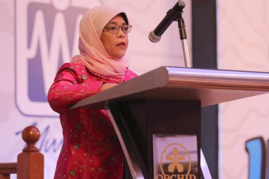 Halimah Yacob give a speech at the dinner and dance of the United Workers of Electronics and Electrical Industries (UWEEI).