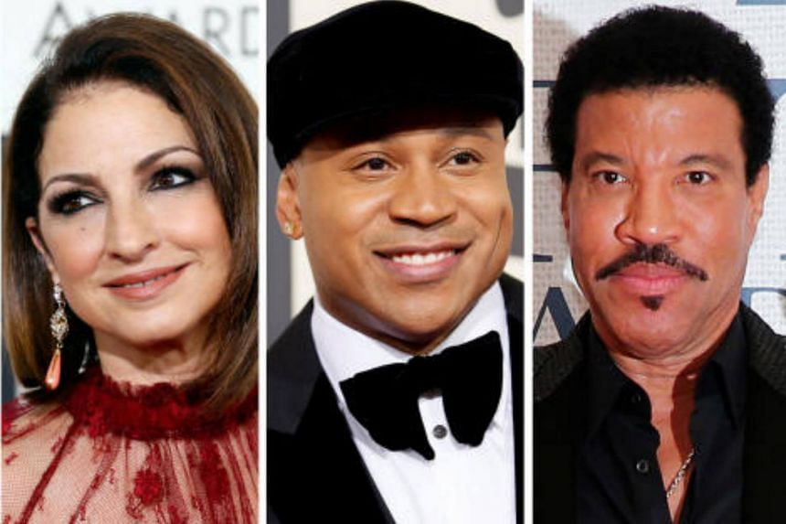 (left to right) Singer-songwriter and actress Gloria Estefan, hip-hop artist LL COOL J and musician and record producer Lionel Richie.