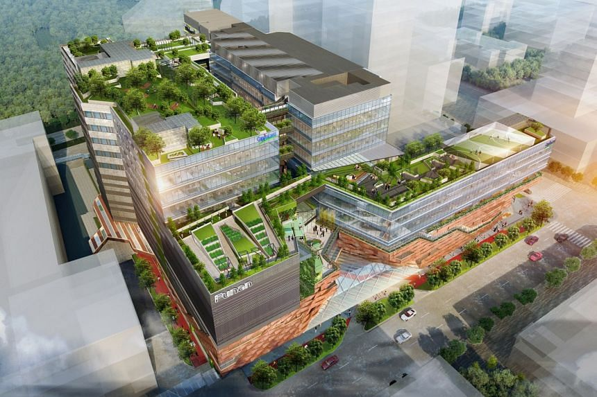 Artist's impression of the new Funan integrated development which will have a serviced residence, a six-storey retail podium and two six-storey Grade A office towers.