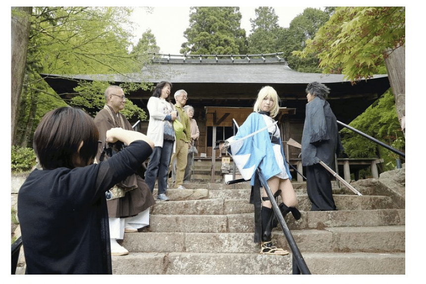 Young people enjoy cosplaying at Daikokuji temple in Sasayama, Hyogo Prefecture, Japan.