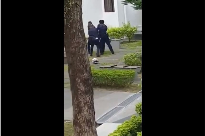Three police officers were injured when trying to subdue a 41-year-old man on Friday (Aug 4) morning.