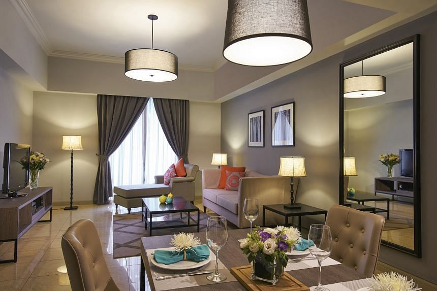 An apartment at Regency House. Average occupancy for Far East Hospitality Trust's serviced residence portfolio fell 4.5 percentage points year on year.