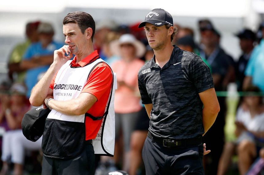 Thomas Pieters of Belgium looks on from the ninth green during the first round.