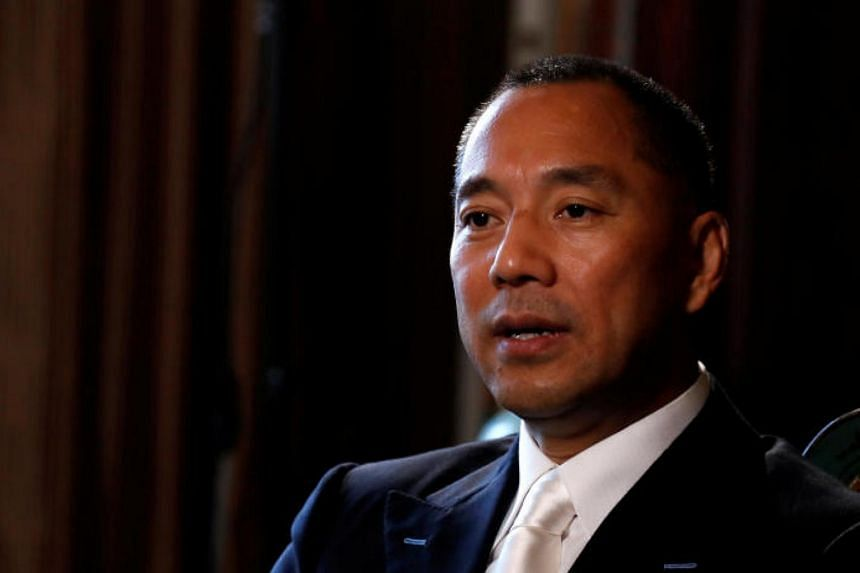 Billionaire businessman Guo Wengui speaks during an interview in New York City, on April 30, 2017.