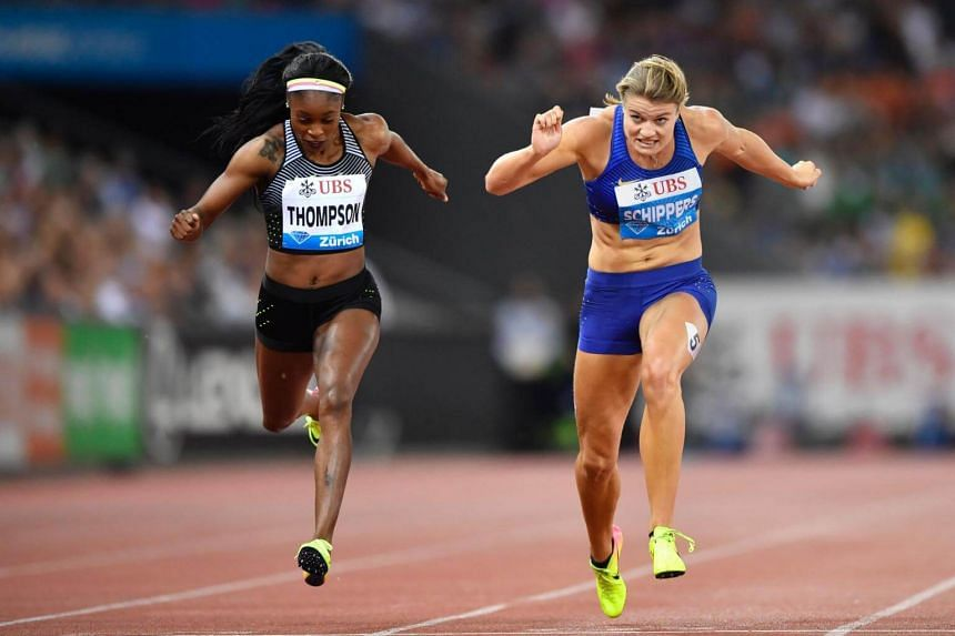 "Jamaica's Elaine Thompson (left) ahead of Netherland's Dafne Schippers during the Diamond League Athletics meeting ""Weltklasse"" at the Letziground stadium in Zurich on Sept 1, 2016."