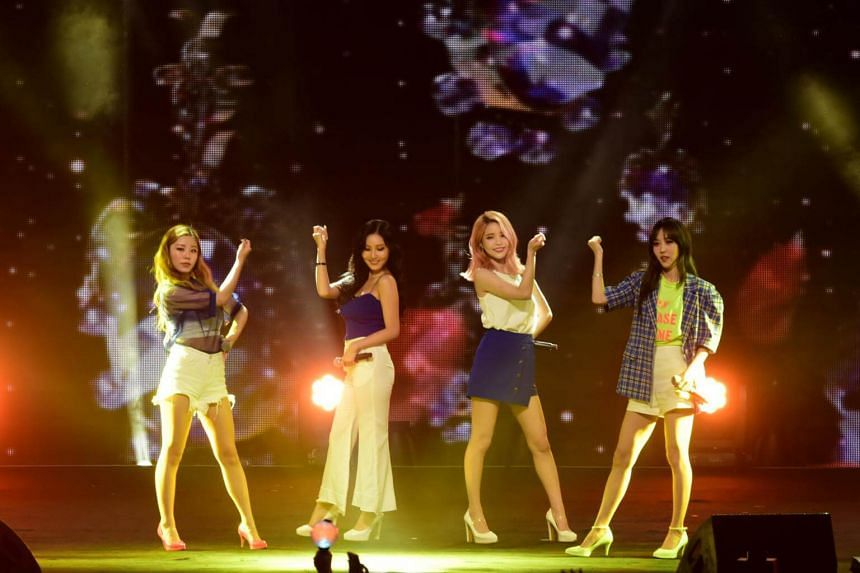 Girl group Mamamoo performed during the KBS Music Bank World Tour in Singapore.