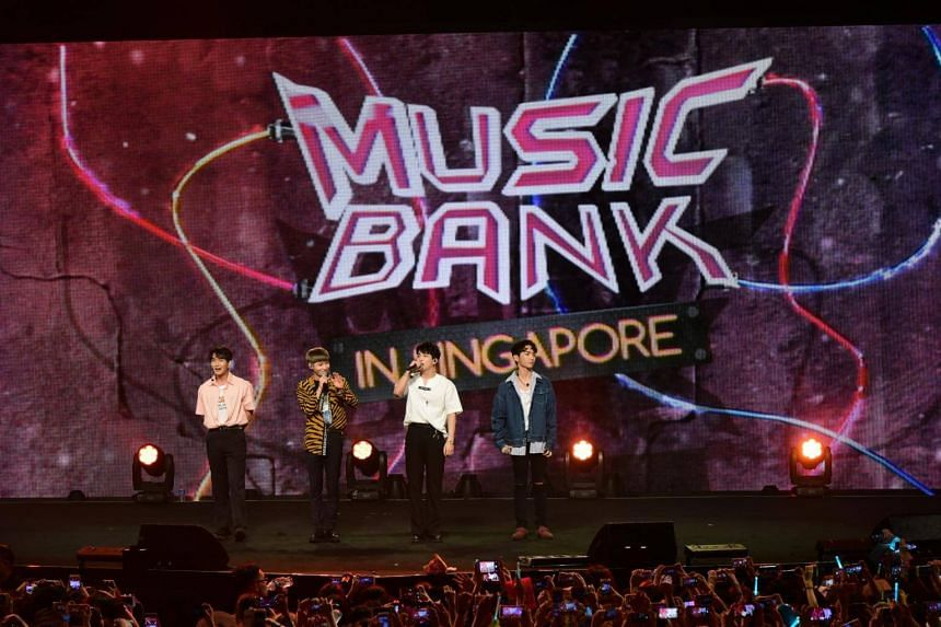 Boyband SHINee performed during the KBS Music Bank World Tour in Singapore.