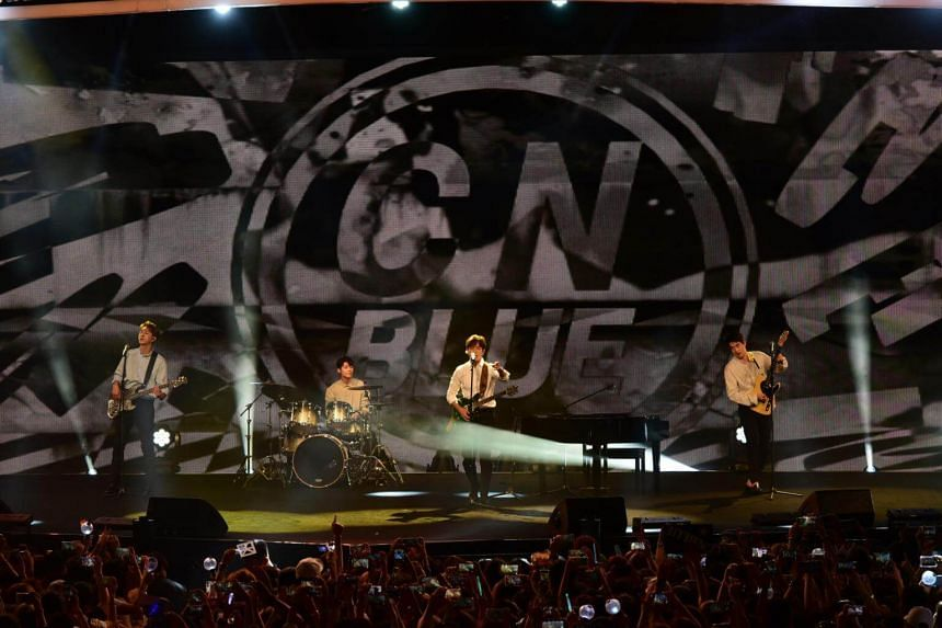 Boyband CNBlue performed during the KBS Music Bank World Tour in Singapore.