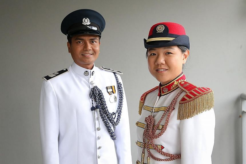 Senior Staff Sgt Audi Hariz Sarman and ME1 Isabelle Wong will march with their bandmates before singing We Are One, Singapore.