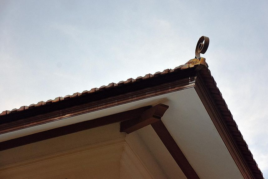 Coils at roof corner.