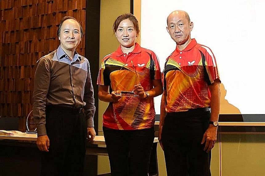 Li Jiawei at the World University Games flag presentation ceremony at UTown in the National University of Singapore yesterday. The former national paddler is sponsoring the Singapore contingent for their training camp in Taiwan.