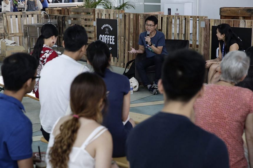 Graphic novelist Sonny Liew speaks during a panel at the Singapore Coffee Festival on Aug 5, 2017.