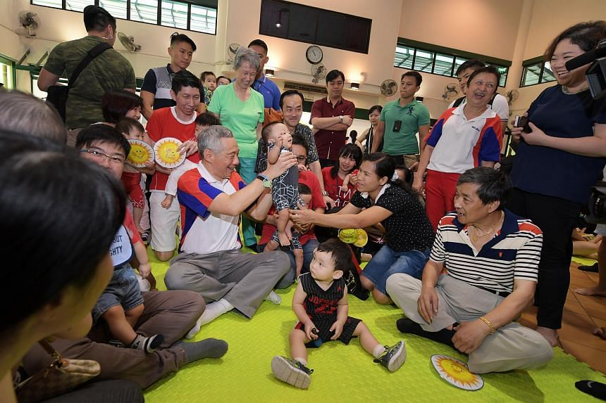 Prime Minister Lee Hsien Loong launches the Parenthood Network Group at the Yio Chu Kang Community Club on Aug 5, 2017.