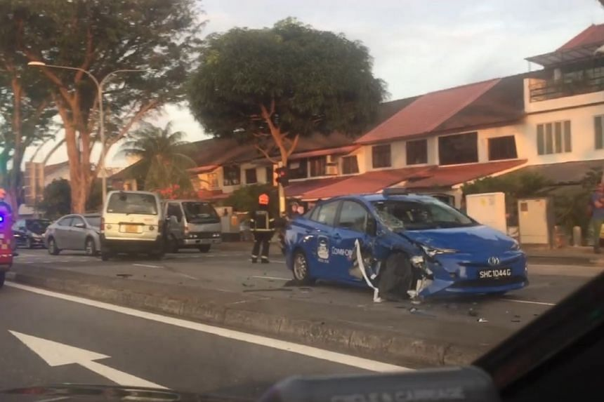 The accident, which occurred towards Bendemeer Road before Aljunied Road, involved a van, a car and a ComfortdelGro taxi.