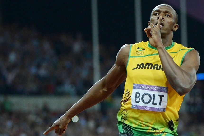 Jamaica's Usain Bolt celebrating after winning the men's 200m final during the London 2012 Olympic Games in London on Aug 9, 2012.