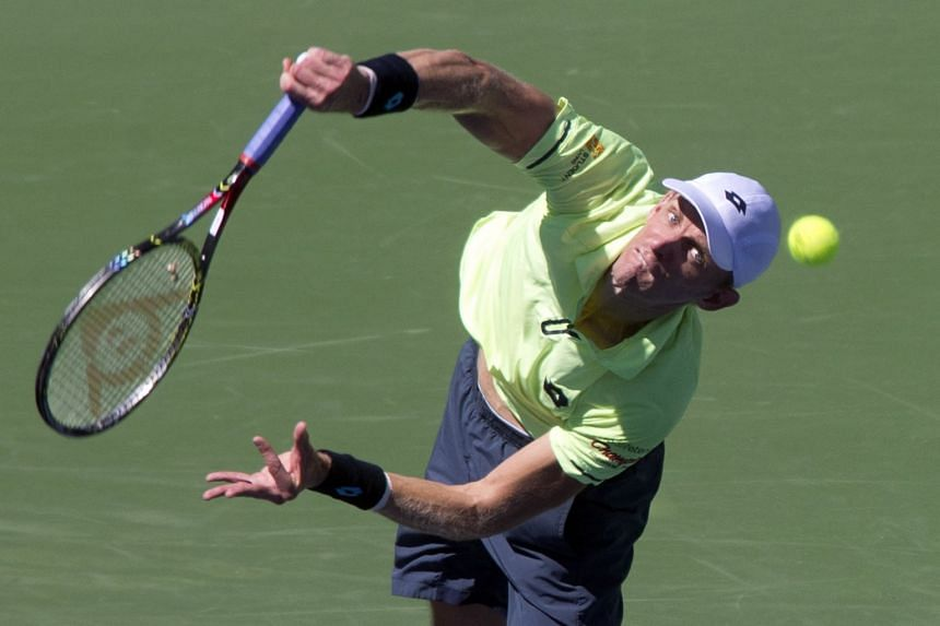 Kevin Anderson in action against Jack Sock.
