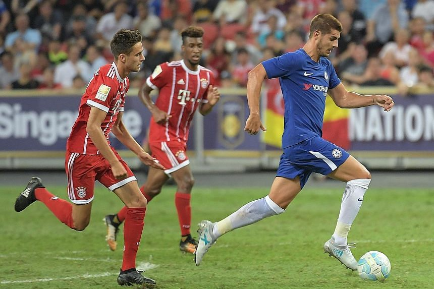 New Chelsea striker Alvaro Morata racing ahead of Bayern Munich players at the recent International Champions Cup Singapore tournament. The £58 million signing was initially wanted by Blues rivals Manchester United.
