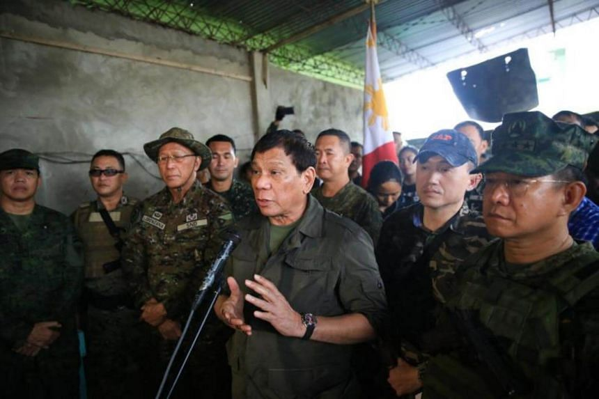 Philippine President Rodrigo Duterte speaking during a visit to a military camp in Marawi, on Aug 4, 2017.