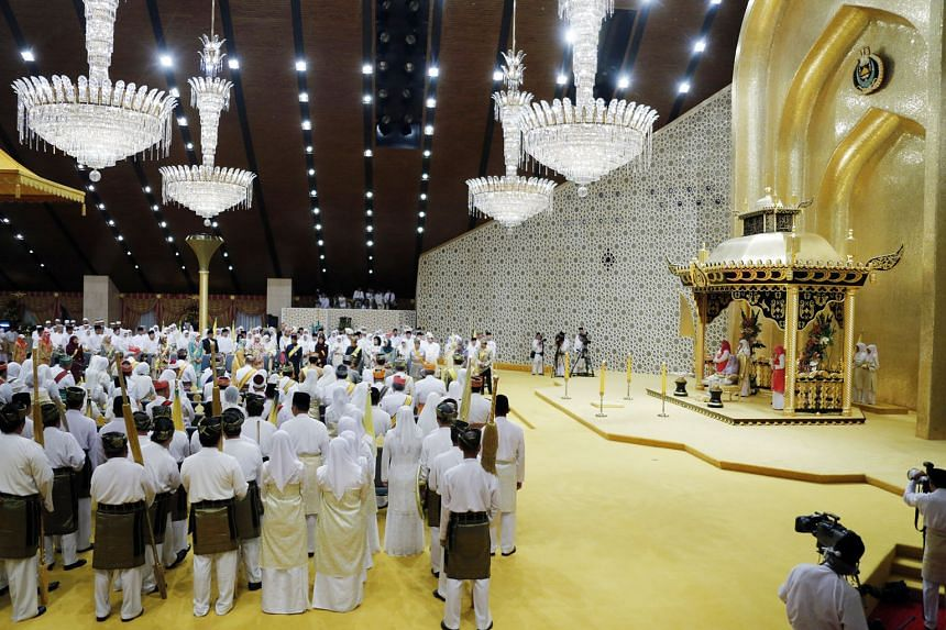 A ceremony being held at the Throne Hall of the Istana Nurul Iman in 2012. The 1,788-room complex, spanning 120ha, is the world's largest residential palace and also Brunei's seat of government.