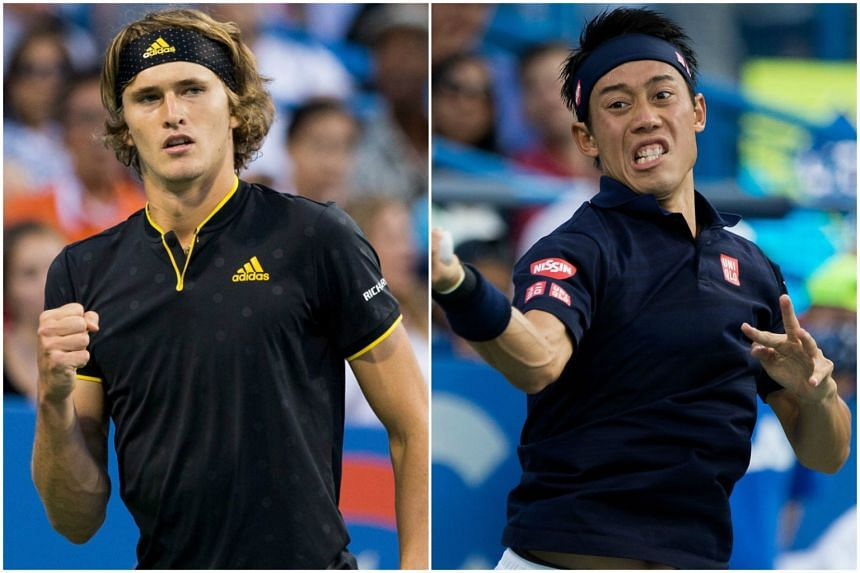 Germany's Alexander Zverev (left) dominated Japan's Kei Nishikori in a showdown to reach the ATP Washington Open final.