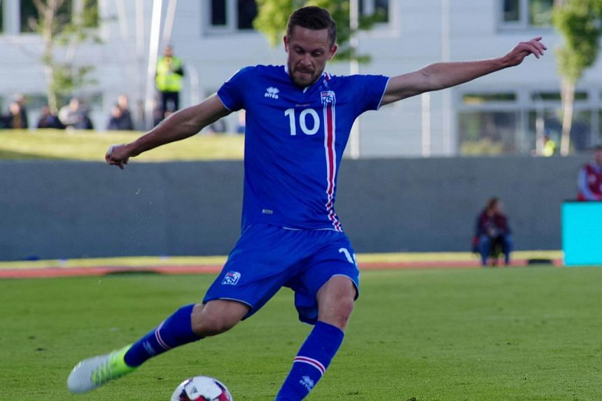 Iceland's Gylfi Sigurdsson in action during the World Cup 2018 Qualifiers at Laugardalsvollur Stadium in Reykjavik, Iceland, on June 11, 2017.