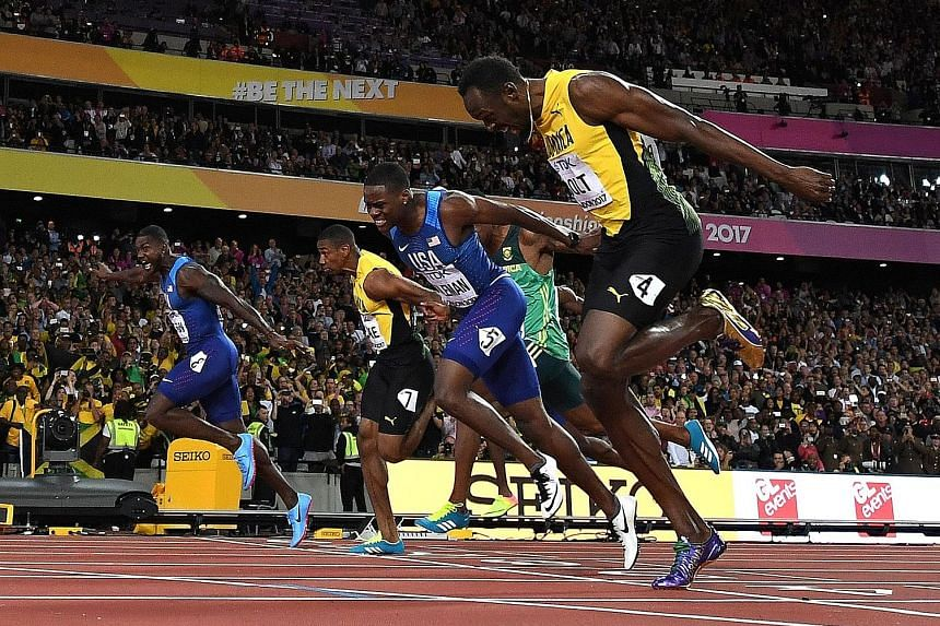 Four men broke the 10-second mark in the 100m final of the IAAF World Championships at the London Stadium on Saturday. From left: Justin Gatlin took the gold medal with a time of 9.92 seconds; Yohan Blake finished fourth in 9.99sec, Christian Coleman