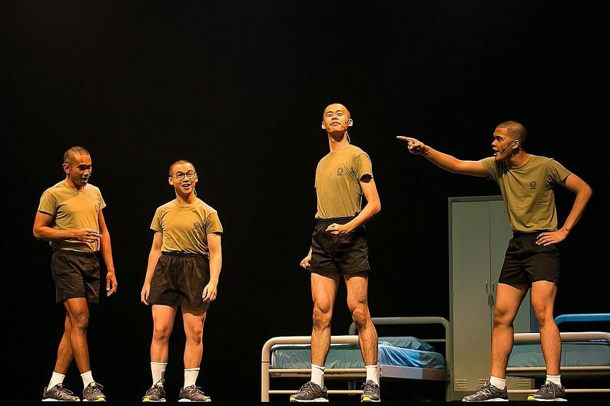 New national servicemen - played by (from left) Tahir Ansari, Andre Chong, Tay Hwan Haw and Irsyad Dawood - in Army Daze 2.