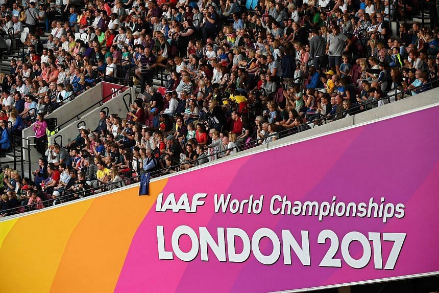 Spectators attend the evening session on the third day of the London 2017 IAAF World Championships in London, on Aug 6, 2017.