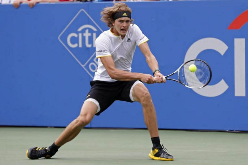 Alexander Zverev hits a backhand against Kevin Anderson in the men's singles final of the Citi Open.