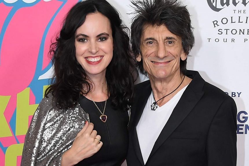 Actress Sally Humphreys and Ronnie Wood of The Rolling Stones in a photo taken on Nov 16, 2016.