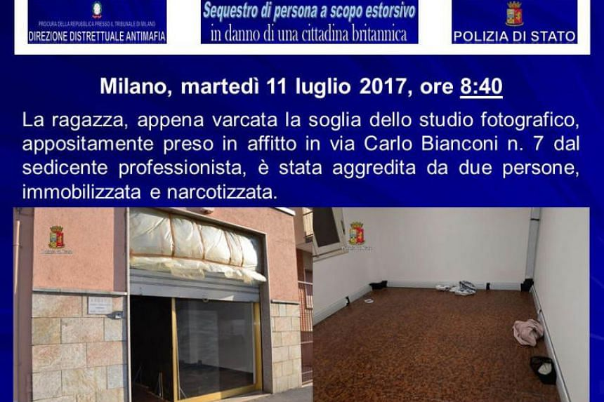 A handout document released by the Italian police (Polizia di Stato) on August 5, 2017, shows the fake photo studio used to kidnap a British model in Milan.