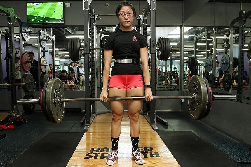 Ms Natalie Tiong, a pre-school teacher, deadlifts 160kg.