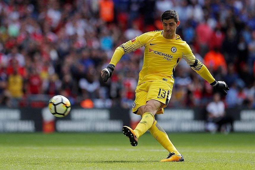 Chelsea 'keeper Thibaut Courtois balloons his penalty over the bar as Arsenal came out on top in the Community Shield shoot-out. The Gunners and the Blues open their campaign against Leicester and Burnley respectively.