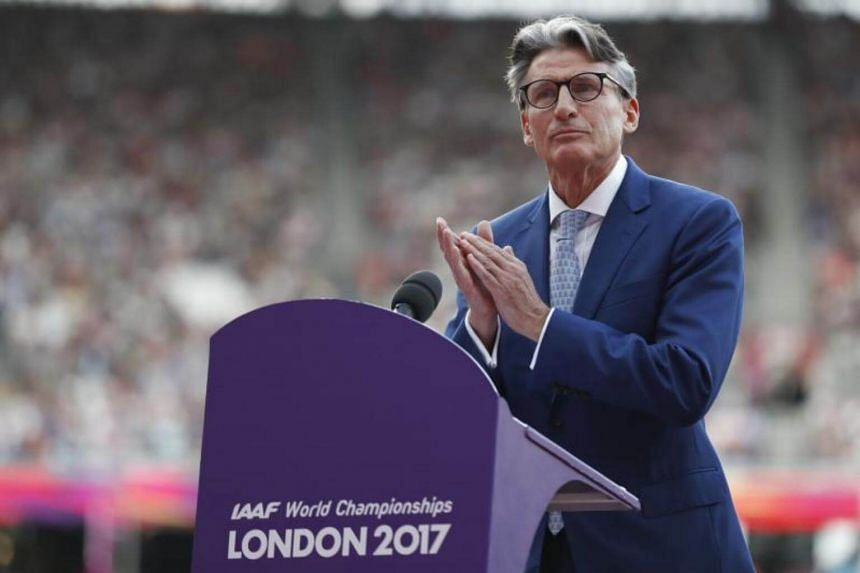 President of the International Association of Athletics Federations Sebastian Coe gestures as he delivers a speech in London, Britain, on Aug 4, 2017.
