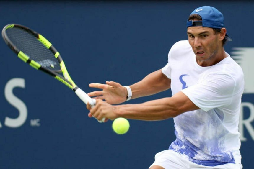 Rafael Nadal of Spain pratices during the Rogers Cup tennis tournament at Uniprix Stadium on Aug 6, 2017.