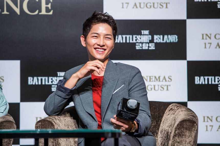 Song Joong Ki at the press conference at Marina Bay Sands to promote his new wartime movie, The Battleship Island.