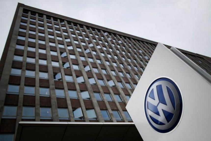 The Volkswagen logo outside its main administrative building in Wolfsburg, central Germany.