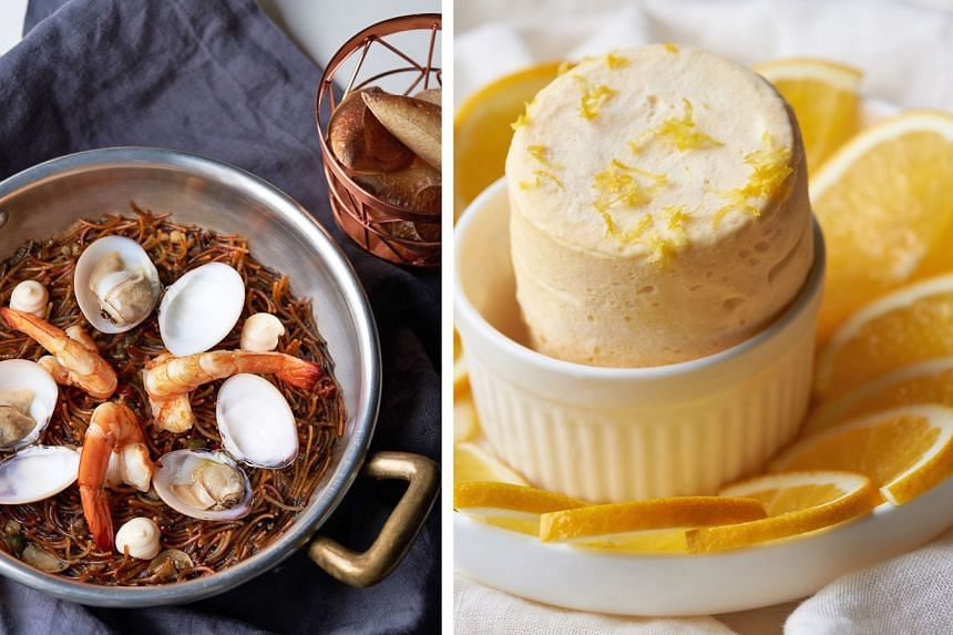 Spanish fideua (far left) - short noodles roasted and then resuscitated in a seafood broth, with a handful of fresh clams and shrimp scattered on top; and orange ice cream souffle.