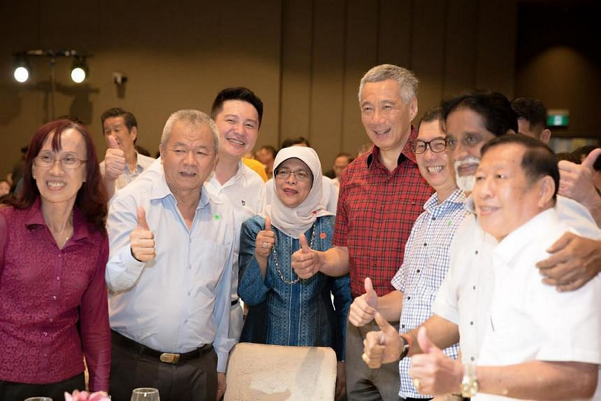 Prime Minister Lee Hsien Loong and Speaker of Parliament Halimah Yacob at the launch of People's Action Party (PAP) new initiative to engage and encourage senior activists to continue serving the party and Singapore.