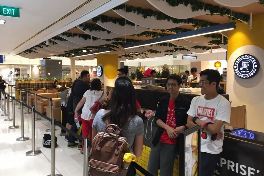 People queueing at Pablo's maiden outlet in Wisma Atria on Aug 8, 2017.