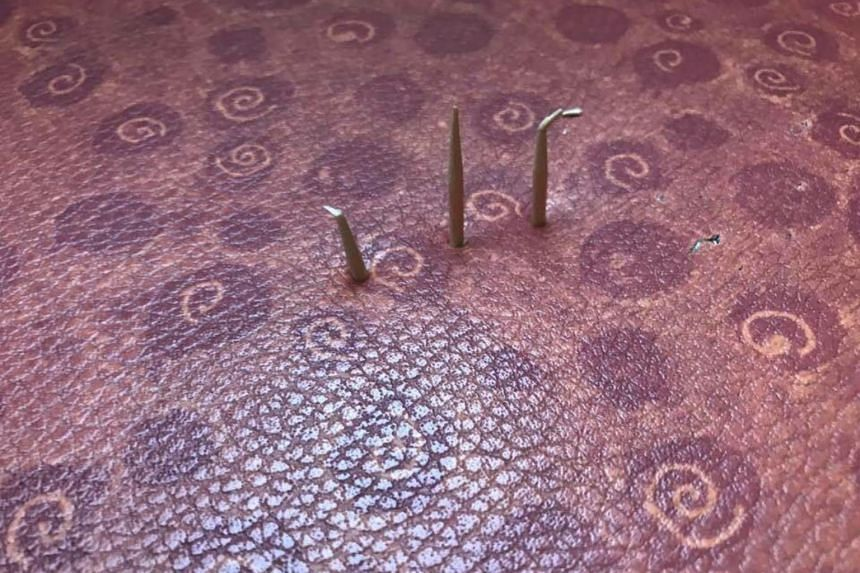 The bus company said that one of the passenger seats on their bus was perforated with toothpicks.